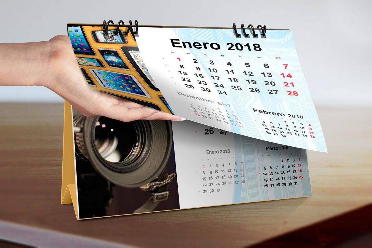 Plantilla Calendario Sobremesa Anillas 2018 | Magical Art Studio