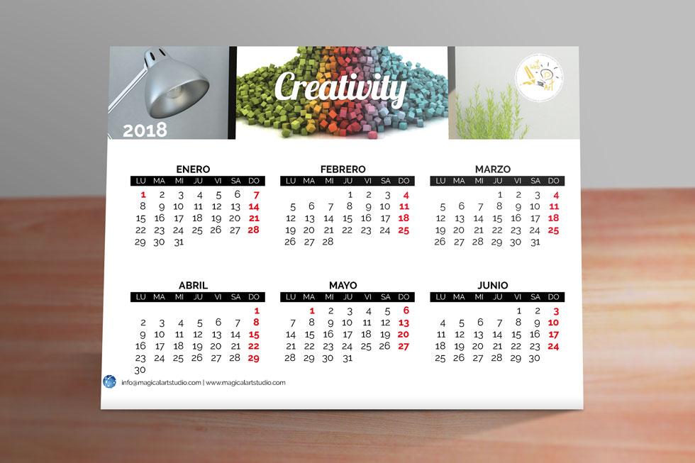 Plantilla calendario triangular 2018 magical art studio - Plantilla calendario de mesa ...