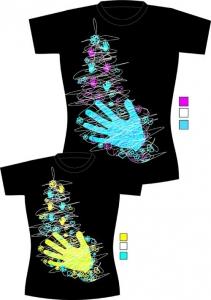 camiseta negra serigrafía dos colores