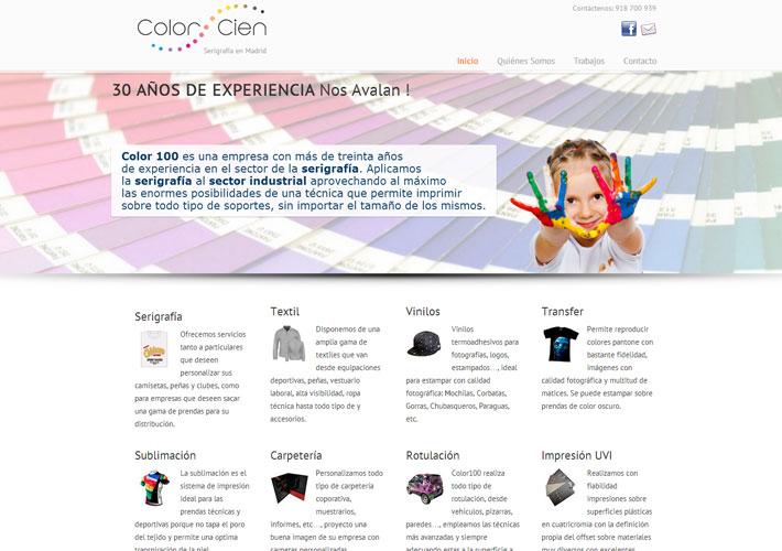 página principal de la página web color cien