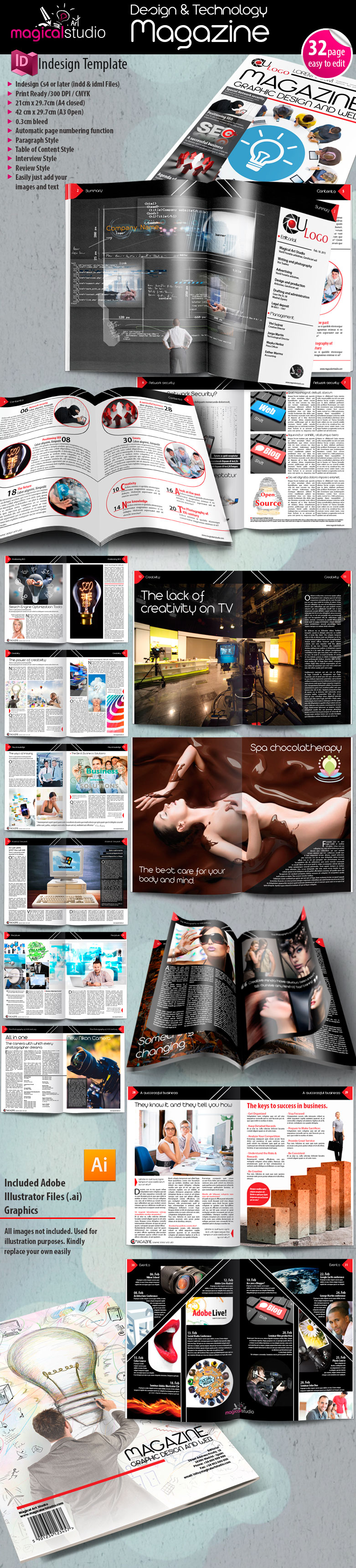 descargar plantilla completa diseño revista