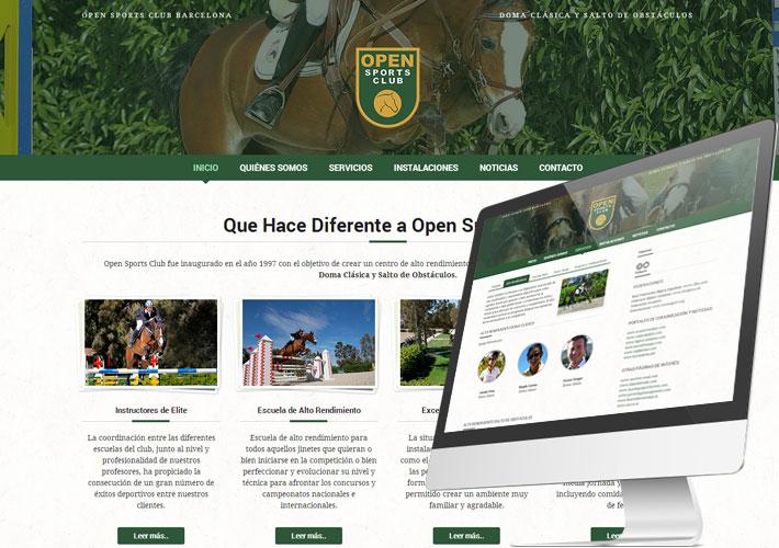 Captura de pantalla de la nueva web de Open Hípica de Barcelona