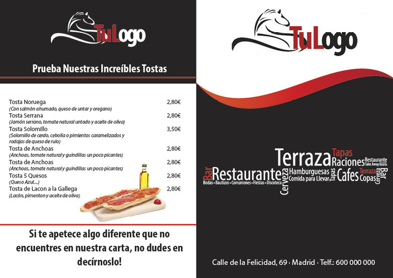 plantilla para descargar carta menu restaurante