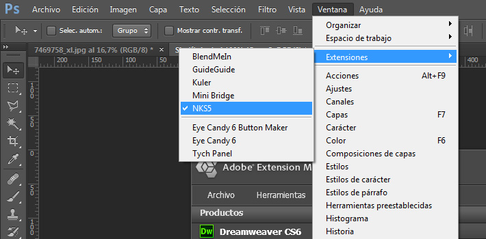 ventana de photoshop extensiones