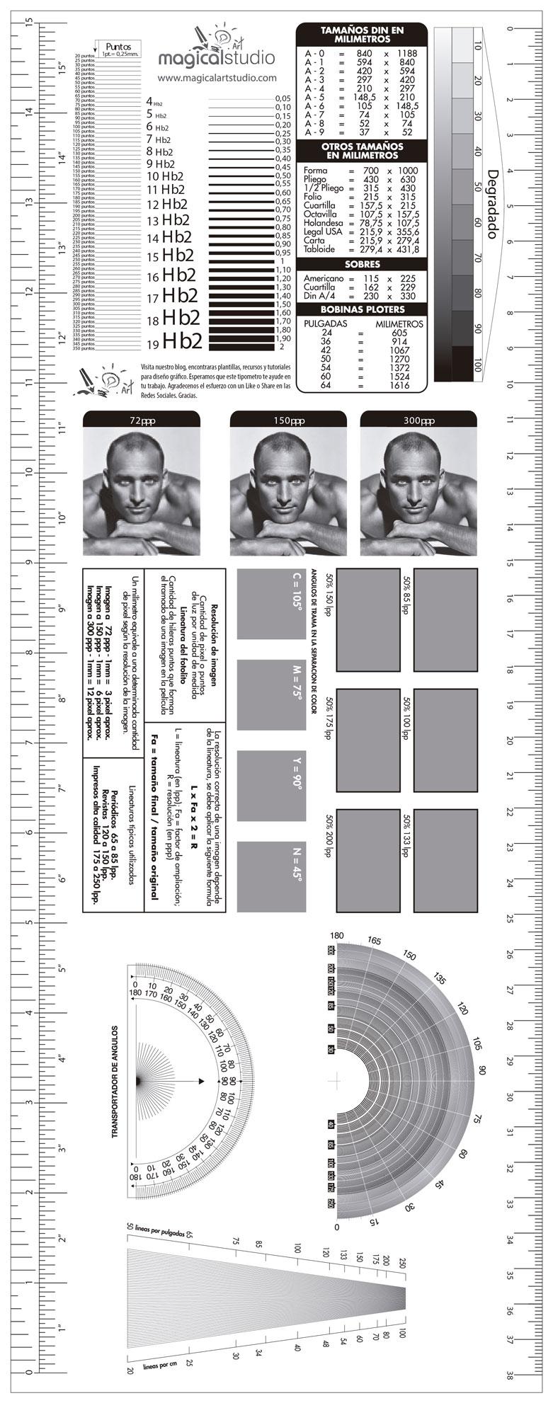 Descarga Plantilla Tipómetro y Lineómetro Gratis Illustrator ...