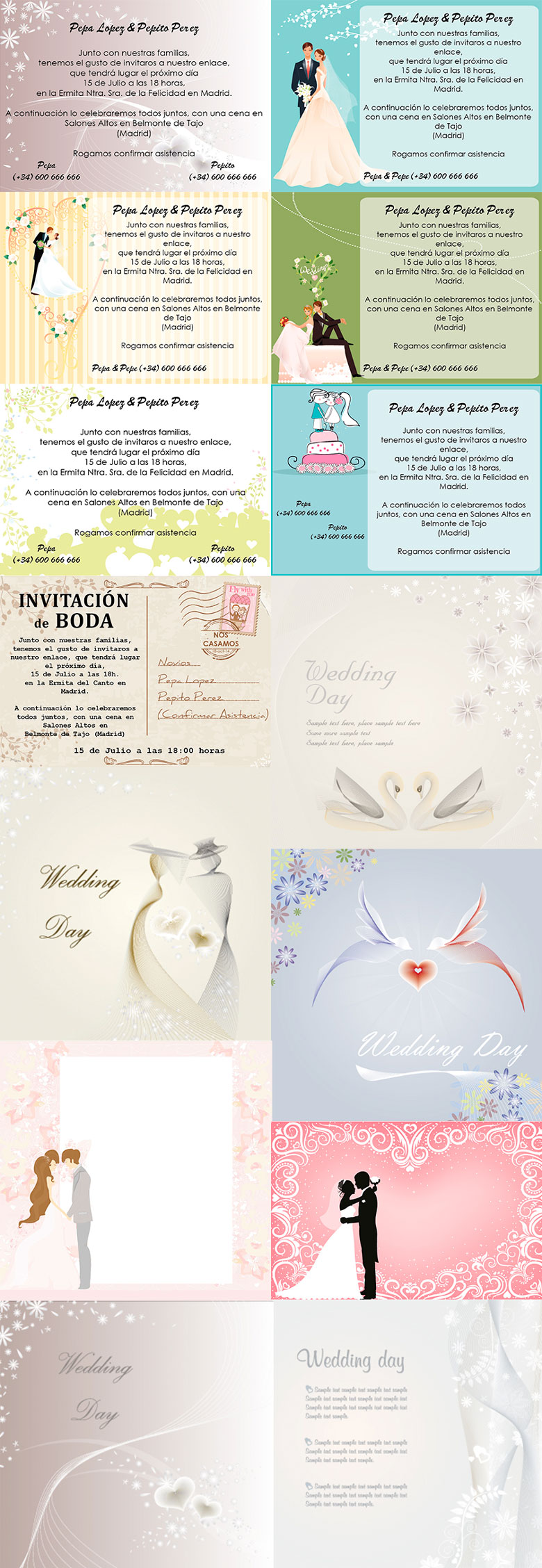 Plantillas Invitaciones de Boda Gratis | Magical Art Studio