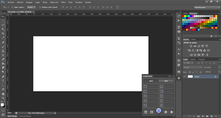 vista de plugin guide en photoshop