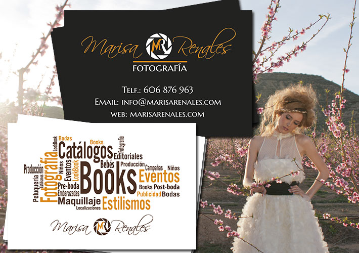 Diseño de tarjetas de visita de Marisa Renales Fotografía