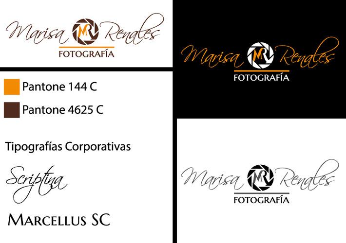 imagen corporativa de Marisa Renales, colores y tipografías