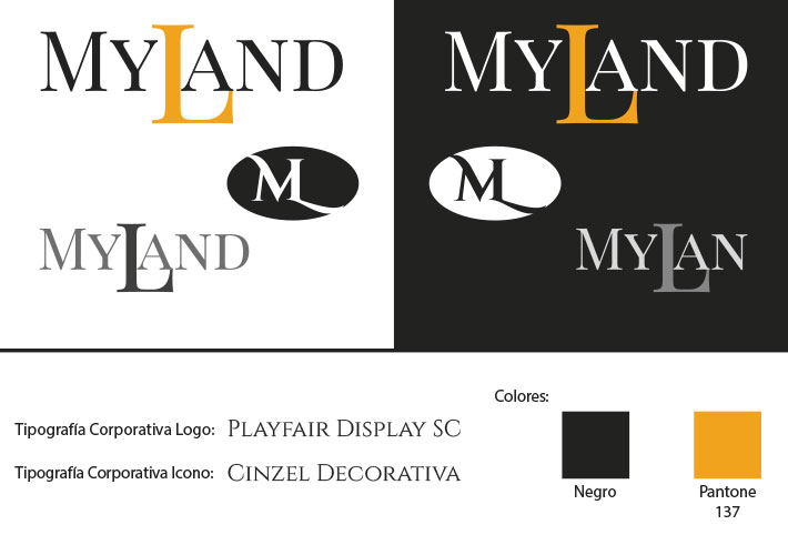 Diseño de Logotipo imagen corporativa Myland Fashion