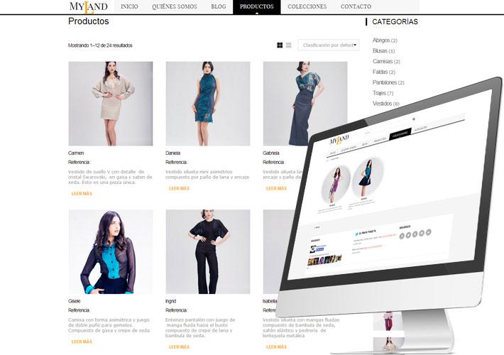 captura de pantalla de la tienda online myland fashion