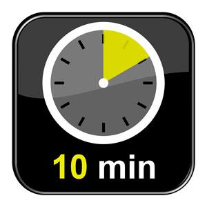 reloj que marca 10 minutos