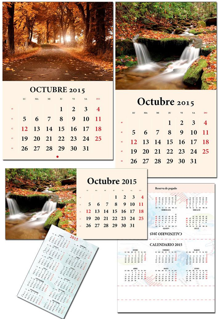 Plantillas editables Indesign calendario 2015 español catalan