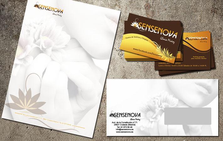 hojas de carta sobres y tarjetas de visita para emprendedores