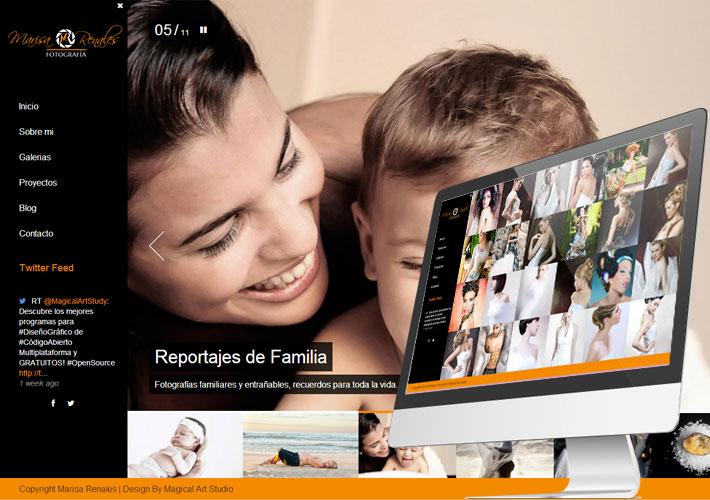Diseño de página web para Marisa Renales fotografía captura de pantalla