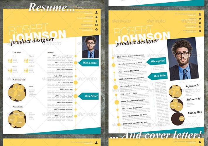curriculum para creativos en amarillo