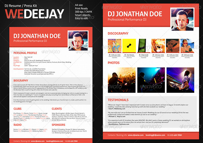 curriculum para DJ