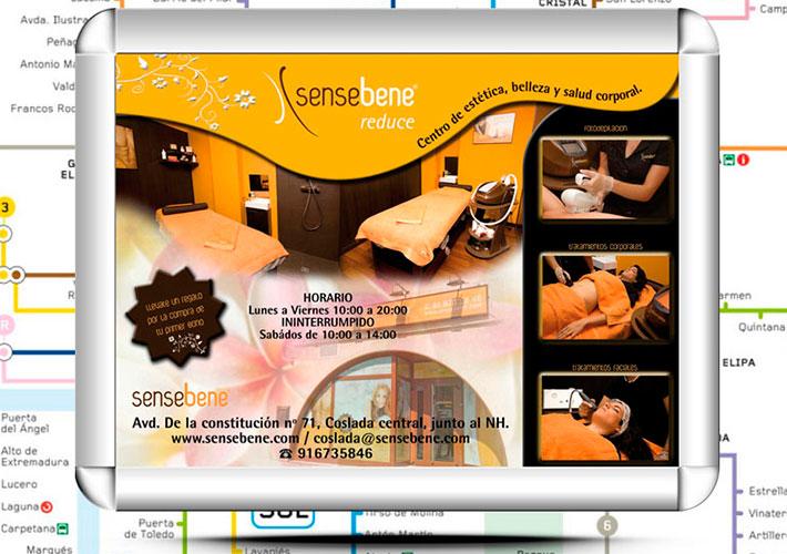 Sensebene Coslada anuncio en Metro, diseño publicitario